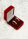 Deux bagues à diamant d'or dans le cadre ouvert. Symbole d'amour Images stock
