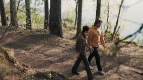 Deux balades d'amis d'hommes sur la voie en bois et débuts discutant le jour ensoleillé clips vidéos