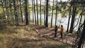 Deux balades masculines d'amis sur la voie de forêt et débuts discutant le jour ensoleillé banque de vidéos
