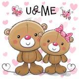 Deux bande dessinée mignonne Teddy Bears illustration libre de droits