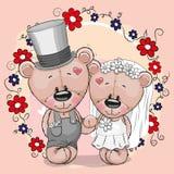 Deux bande dessinée mignonne Teddy Bears Image stock