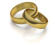 Deux bandes de mariage entrelacées d'or Images libres de droits