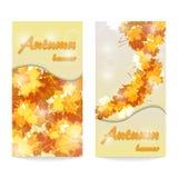 Deux bannières abstraites d'automne avec les feuilles d'or Photographie stock