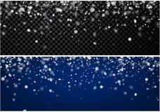 Deux bannières abstraites d'hiver avec la neige Photo stock