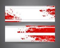 Deux bannières avec la peinture de jet abstraite rouge Fond de papier chiffonné Photographie stock libre de droits