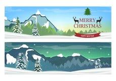 Deux bannières avec le paysage d'hiver de vacances Images stock