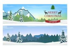 Deux bannières avec le paysage d'hiver de vacances Photographie stock