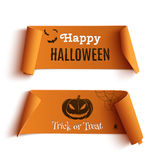 Deux bannières de Halloween, sur le blanc Images libres de droits