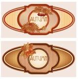 Deux bannières saisonnières d'automne de vintage Photos stock