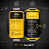 Deux bannières verticales dans le style de techno Utile pour le web design ou la publicité Images libres de droits