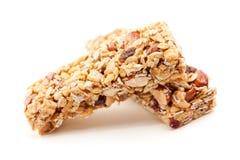 Deux bars de granola d'isolement sur le blanc Photo stock