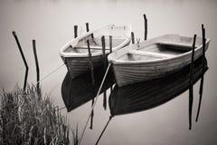 Deux bateaux sur le fleuve Images libres de droits