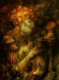 Deux beaux êtres de forêt, illustration détaillée colorée Image stock