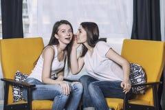 Deux beaux amis de femmes parlant des sourires heureux à la maison Photo libre de droits