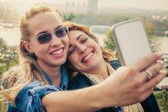 Deux beaux amis faisant le selfie Image libre de droits