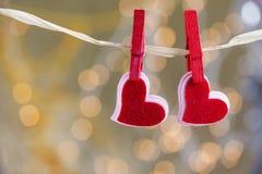 Deux beaux coeurs rouges Image stock