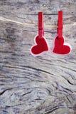Deux beaux coeurs rouges Image libre de droits