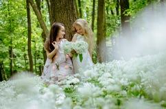 Deux beaux enfants ayant l'amusement dans la forêt Photos libres de droits