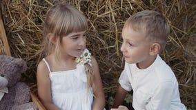 Deux beaux enfants entrent dans le domaine des raisins Enfants heureux dans le domaine Un garçon avec une fille dans des vêtement banque de vidéos