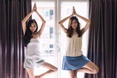 Deux beaux réveillés vers le haut des filles de compagnon de chambre étirent le corps par exercice de yoga près de la fenêtre pen Images stock