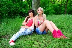 Deux belles amies de jeunes femmes. images stock