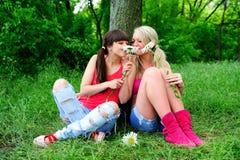 Deux belles amies de jeunes femmes. Images libres de droits