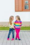 Deux belles amies posant dans le jardin Images stock
