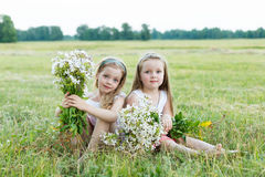 Deux belles amies sur le pré Photo libre de droits