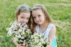 Deux belles amies sur le pré Photographie stock libre de droits
