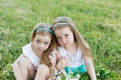 Deux belles amies sur le pré Photos stock