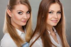 Deux belles femmes, blonde et brune ayant l'amusement Image libre de droits