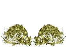 Deux belles femmes, cheveux - fleurs, conception d'or, invitation sur un fond blanc illustration de vecteur