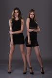 Deux belles femmes de mode noire de nuit habillent la pose sur un fond gris Photographie stock libre de droits