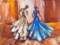 Deux belles femmes fleuve de peinture à l'huile d'horizontal de forêt Photos stock