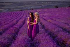 Deux belles femmes insouciantes appréciant le coucher du soleil dans le domaine de lavande harmonie Blond et brune attrayantes av image stock