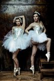 Deux belles femmes utilisant la jupe blanche de tutu photos stock