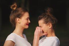 Deux belles filles avec les lèvres rouges Images libres de droits