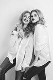 Deux belles filles dans des chemises et des jeans des hommes Image libre de droits