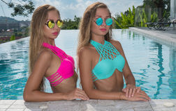 Deux belles filles jumelles blondes Photographie stock libre de droits