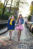 Deux belles filles marchant ensemble et causant Photographie stock libre de droits