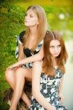 Deux belles filles s'asseyent sur le moignon Image stock