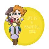 Deux belles filles sur une moto La vie est une belle citation de tour - dirigez l'illustration d'affiche Photos libres de droits