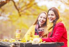 Deux belles jeunes femmes parlant et appréciant un jour d'automne Image stock