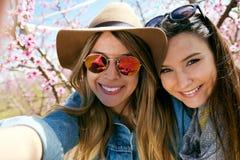 Deux belles jeunes femmes prenant un selfie dans le domaine Photographie stock