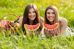 Deux belles jeunes femmes sur un pique-nique Photo stock