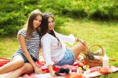Deux belles jeunes filles s'asseyent sur un pique-nique d'été dans un espace de copie de parc Photographie stock