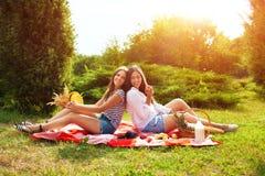 Deux belles jeunes filles s'asseyent sur un pique-nique d'été en parc Photographie stock libre de droits