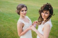 Deux belles jeunes mariées tenant des mains sur le champ vert Images libres de droits