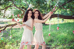 Deux belles soeurs de boho dehors Images stock