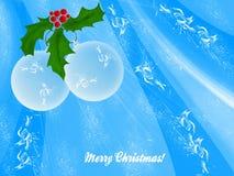Deux billes de Noël blanc avec des lames de guirlande Illustration Stock
